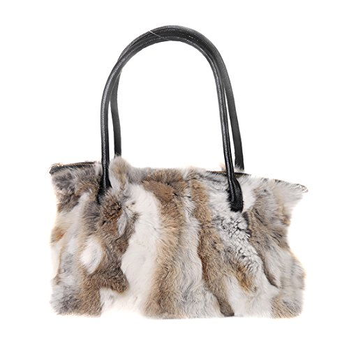 (URSFUR Winter Shoulder Bag Women Real Rabbit Fur Handbag Wristlet Clutch)