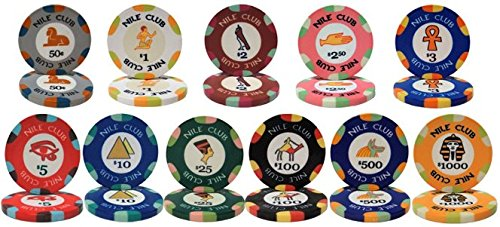 - Deluxe Nile Club Ceramic 10gm Poker 12 Chip Sample Set - Includes Bonus Cut Card!