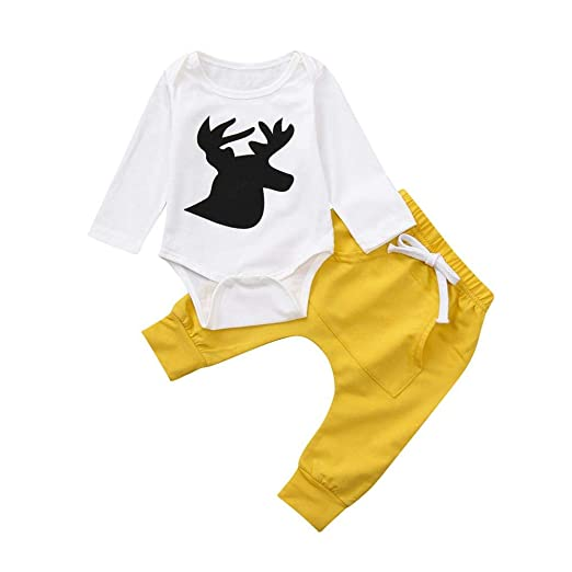 12968de1ef8c Amazon.com: 2pcs Toddler Baby Boys Girls Deer Romper Elastic Waist Pants  Casual Sports Style Set Utility Pocket Trousers Outfits: Clothing