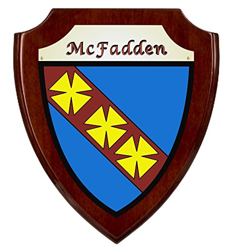 - McFadden Irish Coat of Arms Shield Plaque - Rosewood Finish