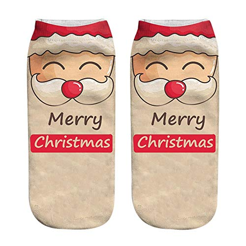 XOWRTE Unisex Womens Men Cotton Christmas Funny 3D Printed Socks Cute Low Cut Ankle Socks -