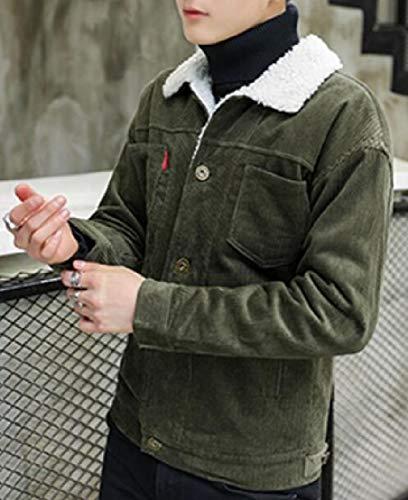 Di Fit Giacca Casuale Tasto Giù Uomini Ttyllmao Armygreen Velluto A Inverno Di Cappotto Degli Coste Sottile Jeans T5wdrqvw