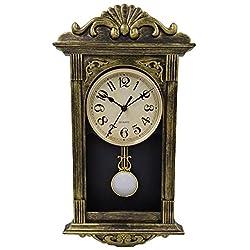 YAVIS Retro/Antique Nordic pendulum Wall Clock, Vintage Clock, Battery Power, 41x22x7cm (Brush Gold)