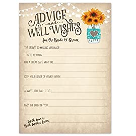 """Vintage Rustic Country Wedding Advice Cards - Sunflowers in Mason Jar - Advice & Well Wishes for the Bride & Groom - Fill In the Blank Style - Bridal Shower Game or Reception Activity (50 Count) 9 50 Wedding Advice Cards for the Bride and Groom - Size is 4.5"""" x 6.5"""". Heavy weight card stock on uncoated paper for easy writing with any pen. Writing Prompts to help guests start their wedding advice and well wishes."""