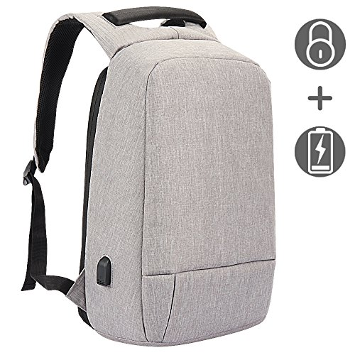 Laptop Backpack, Slim Business Computer Backpack with USB Charging Cable and Port, Water Resistant Anti-theft Travel School Bags Fits Under 17 Inch Laptop