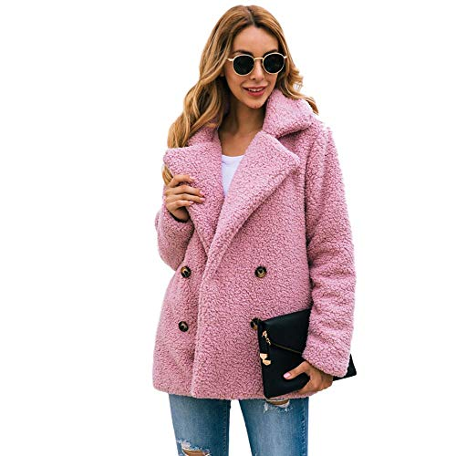 Womens Casual Lapel Pea Coat Fleece Fuzzy Faux Shearling Button Warm Autumn Winter Outwear Jacket with Pockets (Pink,US M=Tag L)