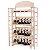 Wood Wine Rack Shelves w Glass Stemware Holder – Tall Liquor Storage Shelving Unit Bundle w Floor Protector Pads For Sale