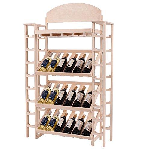 Wood Wine Rack Shelves w Glass Stemware Holder - Tall Liquor Storage Shelving Unit Bundle w Floor Protector Pads