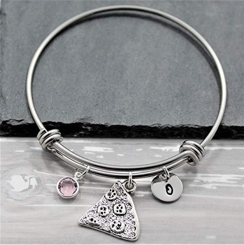 Pizza Friendship Bracelet - Personalized Initial & Birthstone - Pizza Jewelry for Girls, Women