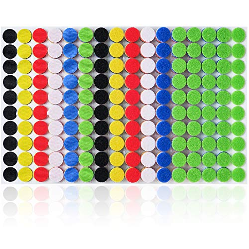 Miracle Market 600 Pcs (300 Pairs) of Colorful Hook and Loop Self Adhesive Fastener Dots | Sticky Back ¾ (20 mm) Diameter Heavy Duty Circles | Best for Home, Office, Classroom and Crafts | 6 Color