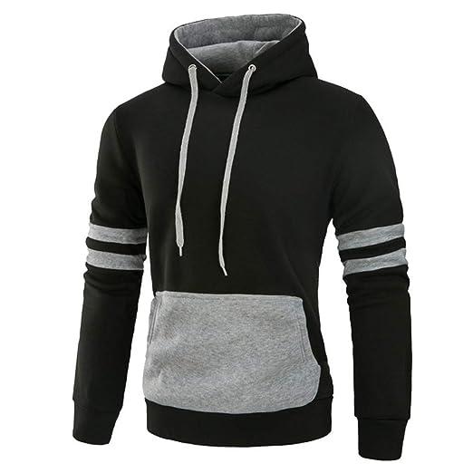 f2291b7991e1 A-LING Men's Big Tall Hooded Sweatshirt Striped Color Block Long Sleeve  Tops Blouse (