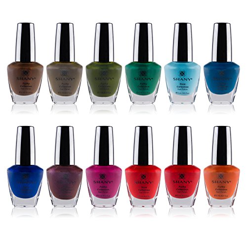 SHANY Nail Polish Set - 12 Nude and Natural Shades in Gorgeous Semi Glossy and Shimmery Finishes - Earth Collection
