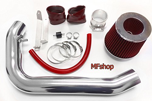1995 1996 1997 1998 Nissan 240SX S14 Silvia 2.4L L4 Air Intake Filter System Kit (Red Filter & Accessories) ()
