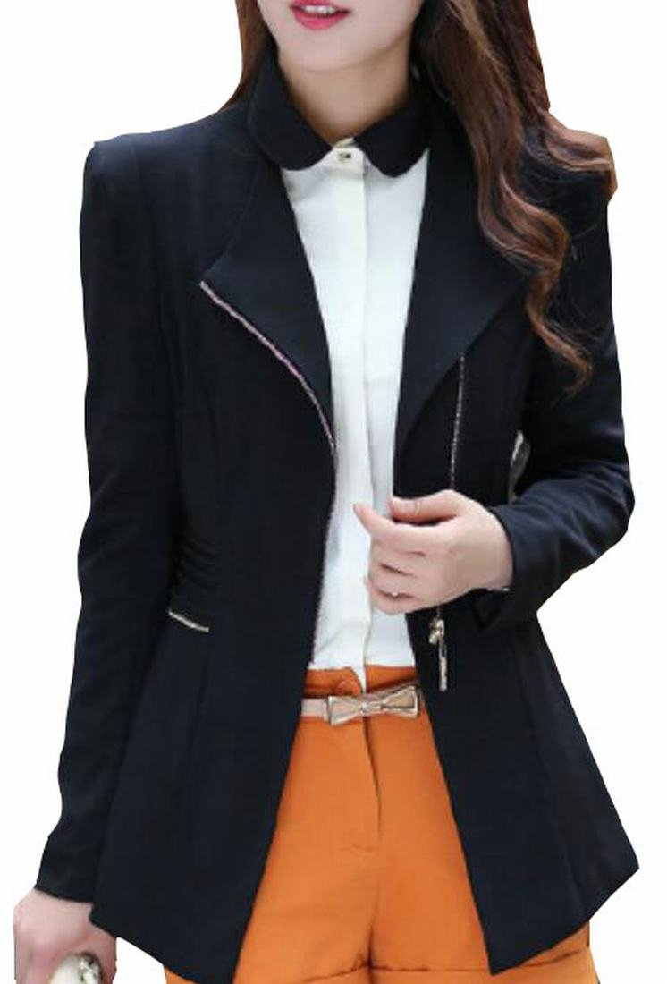 Lucky again-uk Women's Fashion Slim Bodycon Zipper Suit Coat Jacket Blazers