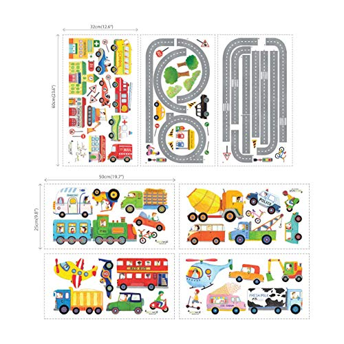 Planes Great Set Decal (Decowall DAT-1404P1405 The Road and Transports Kids Wall Decals Wall Stickers Peel and Stick Removable Wall Stickers for Kids Nursery Bedroom Living Room)