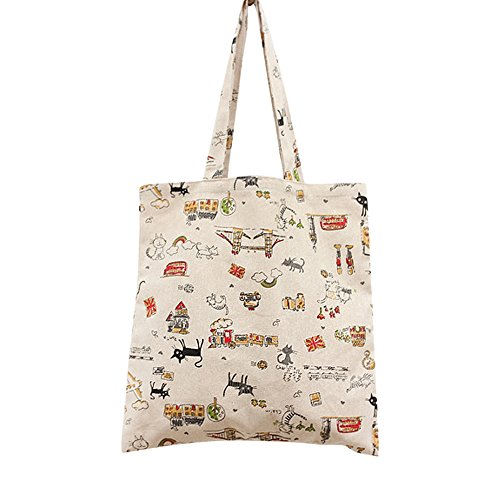Flowertree Women's Cute Animal Print Canvas Tote Bag (L024-Cat/Zip) ()