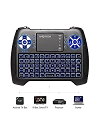 anewish USB Mini teclado retroiluminado con Touchpad 2.4 GHz Bluetooth remoto inalámbrico con Android TV Box, keyboard