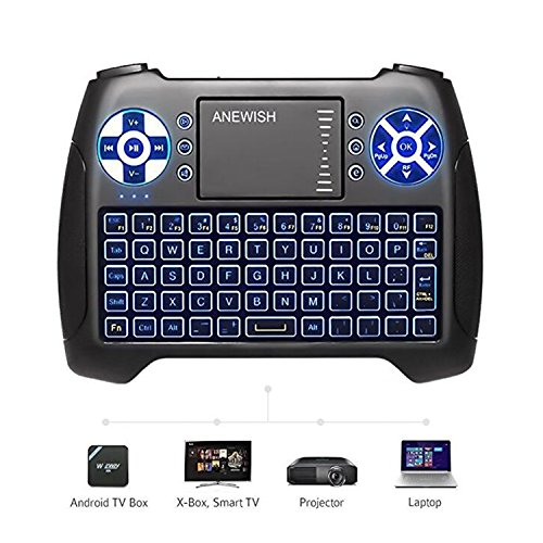 (2018 Latest, Backlit) ANEWISH 2.4GHz Mini Wireless Keyboard with Touchpad Mouse Combo, Rechargable Li-ion Battery & Multi-Media Handheld Remote for Google Android TV Box,PS3,PC,PAD