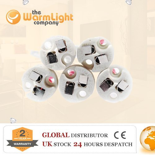 Dependable Lighting 5 x Ceramic G4/GU5.3/GY6.35 12V Low Voltage Lampholders - Wire Connector Sockets for Lamp Light Recessed Downlights - [EU SPECIFICATION: 220-240v] (Low Voltage Lampholder)