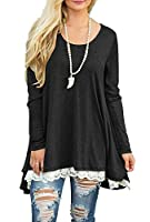 QIXING Women's Lace Long Sleee and Short Sleeve Tunic Top Blouse