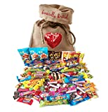 Best of British Retro Sweets in Heart Jute Bag