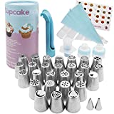 Prime Russian Piping Tips Kit for True Bakers. 27 Deluxe Stainless Steel Tip Set for Cake & Fondant Icing, Frosting & Decorating, One & Tri Color Coupler, Pastry Bags, Decoration Pen, Cupcake Plunger
