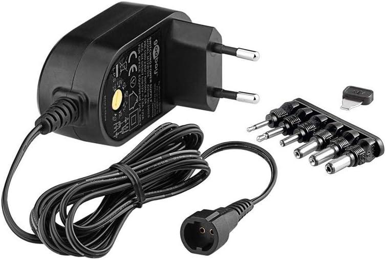 Goobay 59033 - Fuente de alimentación Universal con un máximo de 12 W/1000 mAh con 6 Clavijas de Enchufe DC, Negro