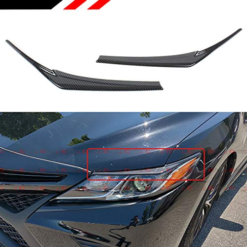 - Cuztom Tuning Fits for 2018-2019 Toyota Camry Painted Carbon Fiber Look Headlight Eyelid Eye Lid Cover Eyebrows