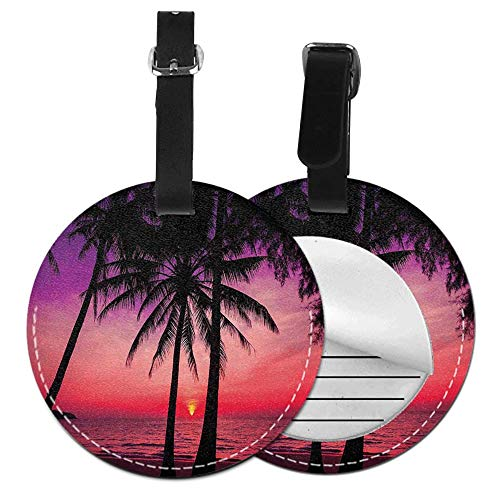 Microfiber PU leather Round luggage tag(1 pcs,2 - Bass Guitars Indiana