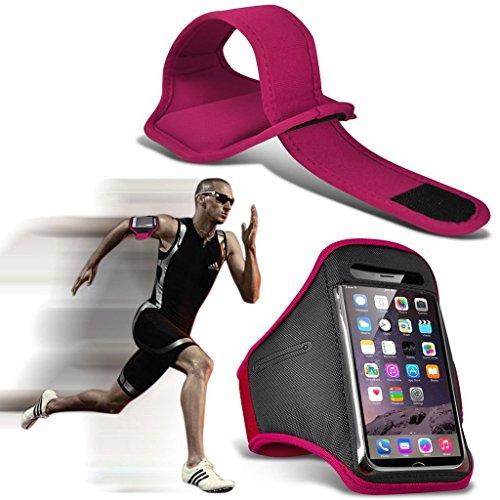 I-Sonite (Rose vif) Résistant à la sueur réglable / Résistant à l'eau Sport Fitness Running Cyclisme Gym Armband Phone Case For Blu Tank Xtreme 2.4