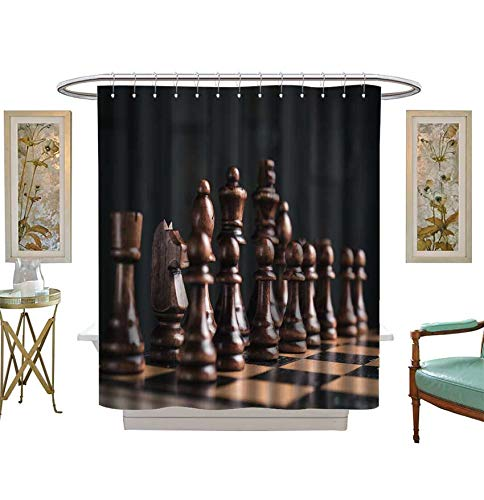 Miki Da Shower Curtains Fabric Close up of Chess Pieces on Chessboard Bathroom Decor Set with Hooks Size:W54 x L72 - Chess Auto Set