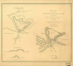 1863 Civil War Vintage Map: Fort Butte La Rose, La Approaches to Fort Butte La Rose, Lou