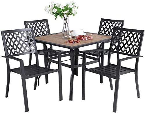 Sophia William 5 Piece Outdoor Patio Dining Set Metal Table and Chairs Set