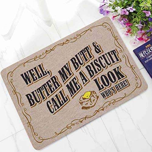 ALDECOR Indoor/Outdoor Doormat, Well,Butter My Butt&Call Me a Biscuit Look, Skid Resistant, Easy to Clean, Catches Water and Debris