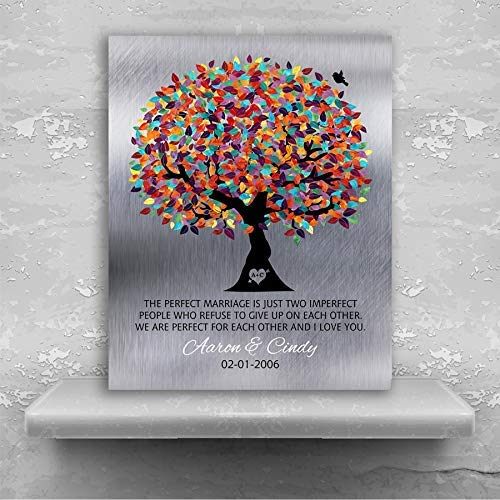 10 Year Anniversary, Tin Anniversary, Gift for Couple, The Perfect Marriage, Colorful Tree, Silver Background, Tenth Custom Art #1208 Metal Print