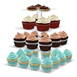 Utenlid Acrylic 4-Tier Square Stacked Party Cupcake Stand with Stable Screw-On Pillars - Tiered Cupcake Stand / Cupcake Tower by UtenLid®
