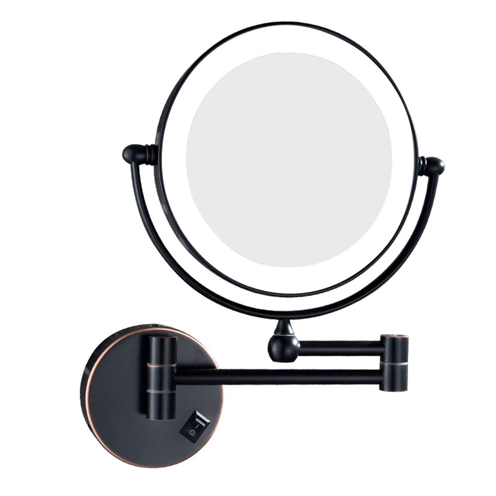 B 3X LED Lighted Wall Mount Makeup Mirror 360° redation Adjustable Extendable Double Side Magnification Bathroom Shaving Comestic Mirrors,A,3X