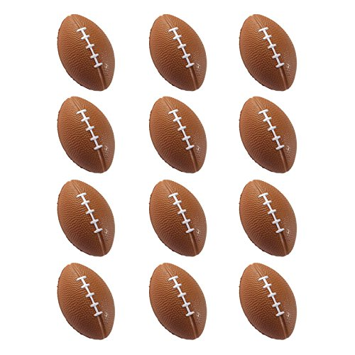 Foam Football (Mini Sports Balls for Kids Party Favor Toy, Soccer Ball, Basketball, Football, Baseball (12 Pack) Squeeze Foam for Stress, Anxiety Relief, Relaxation. (12 Pack (Footballs)))