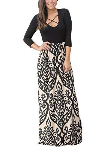 Dokotoo Womens Amazon Spring Crisscross High Waist Half Sleeve Flower Printed Fit and Flare Casual Maxi Long - Half Cross