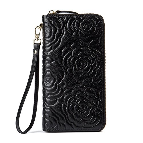 BOSTANTEN Leather Wallets Camellia Pattern Zipper Handbags with Wristlet for Women Black