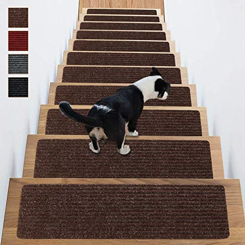 (Stair Treads Non-Slip Carpet Indoor Set of 13 Brown Carpet Stair Tread Treads Stair Rugs Mats Rubber Backing (30 x 8 inch),(Brown, Set of 13))