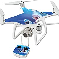 MightySkins Skin For DJI Phantom 4 Quadcopter Drone – Great Whites Protective, Durable, and Unique Vinyl Decal wrap cover | Easy To Apply, Remove, and Change Styles | Made in the USA