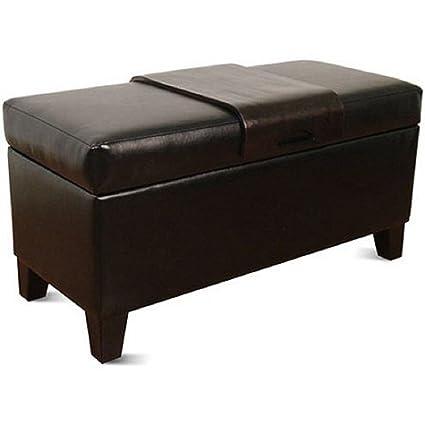 Phenomenal Amazon Com Homepop Leatherette Storage Bench With Wood Tray Inzonedesignstudio Interior Chair Design Inzonedesignstudiocom