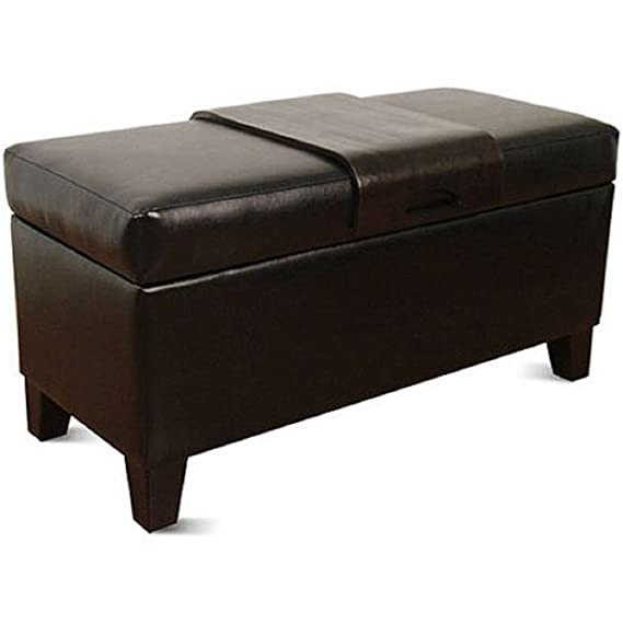 Surprising Amazon Com Homepop Leatherette Storage Bench With Wood Tray Inzonedesignstudio Interior Chair Design Inzonedesignstudiocom