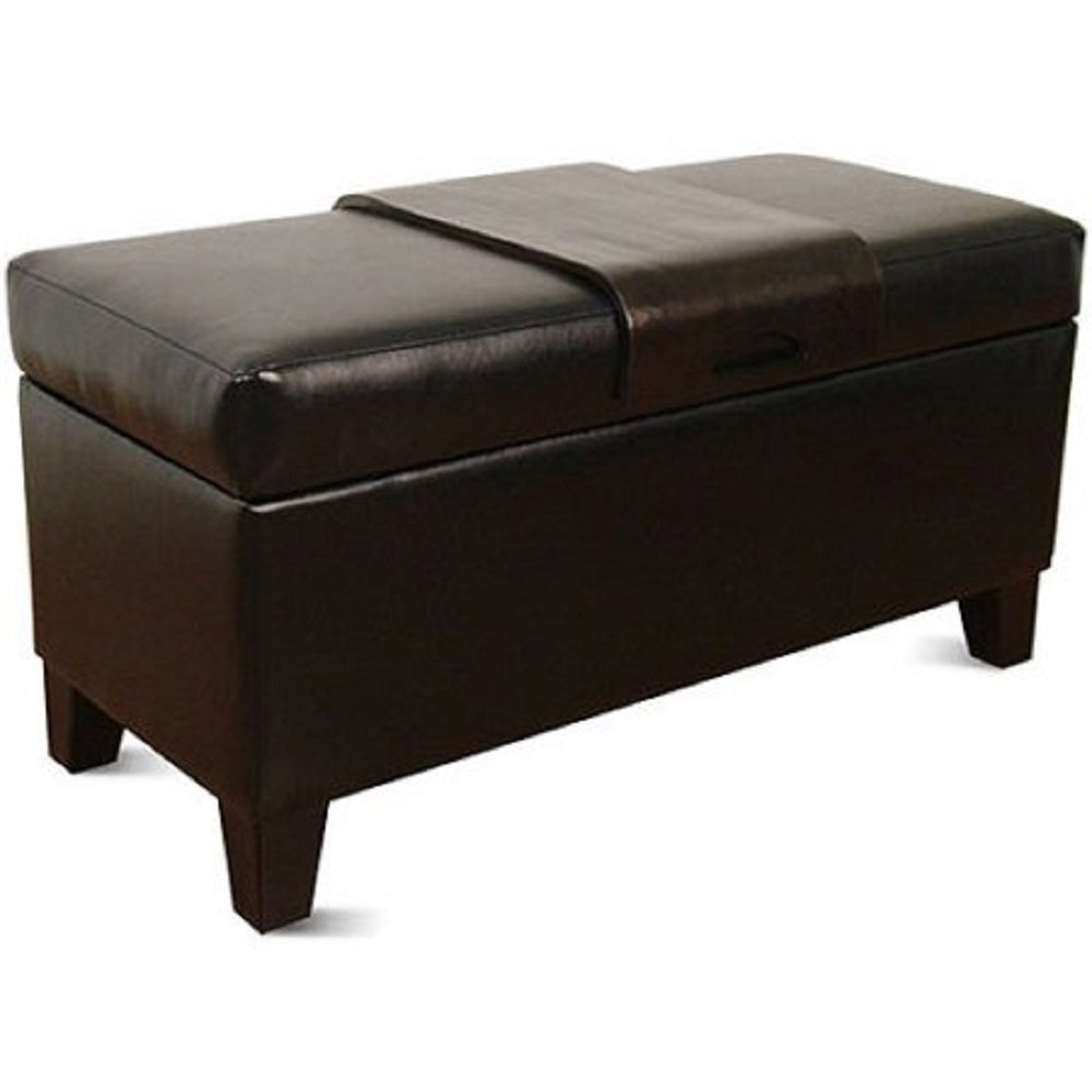 Leatherette Storage Bench with Wood Tray, Black