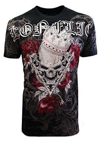 New Special Edition Konflic Men's Crew Neck Rosa Skull Crown Rhinestone Graphic Designer MMA Muscle T-Shirt (Graphic Tee T-shirt Rhinestone)
