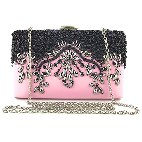 Beaded for Women Wedding Party Pink Evening Dress Clutches Wristlet Purse Bag Hand and Handbag wzIAFBqzx