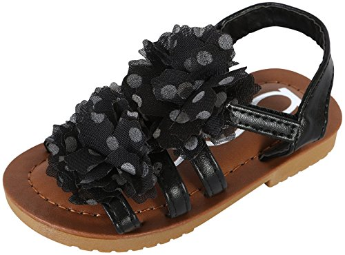 bebe Toddler Girls Open Toe Flower Sandals, Black, 9 M US Toddler' -