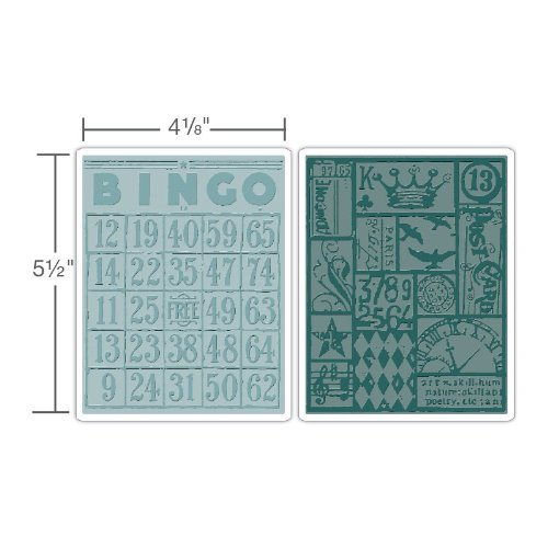 Sizzix Texture Fades Embossing Folders 2PK - Bingo & Patchwork Set by Tim Holtz