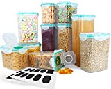 Cereal Container, VERONES Airtight Storage Containers Perfect for Flour Container Dry Food Storage Containers 10 Piece 6 Size,20 Chalkboard Labels.